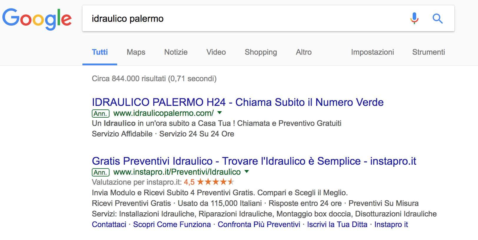 esempio google adwords
