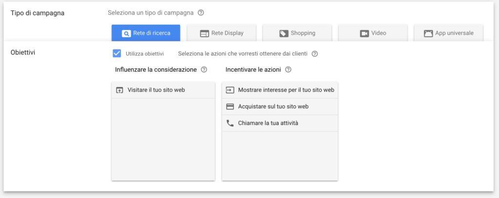 scelta obiettivi campagna google adwords
