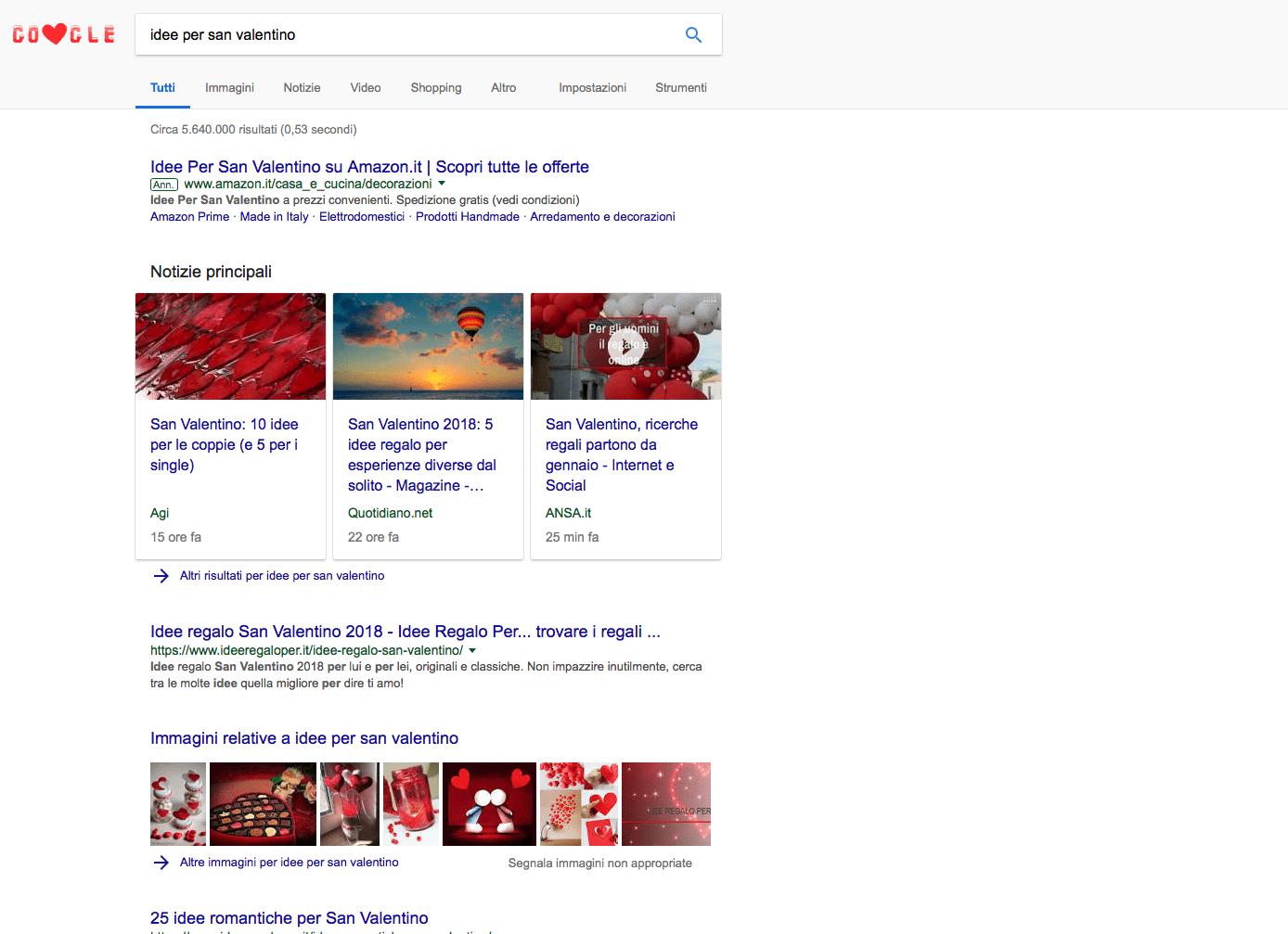 Idee regalo per San Valentino su Google