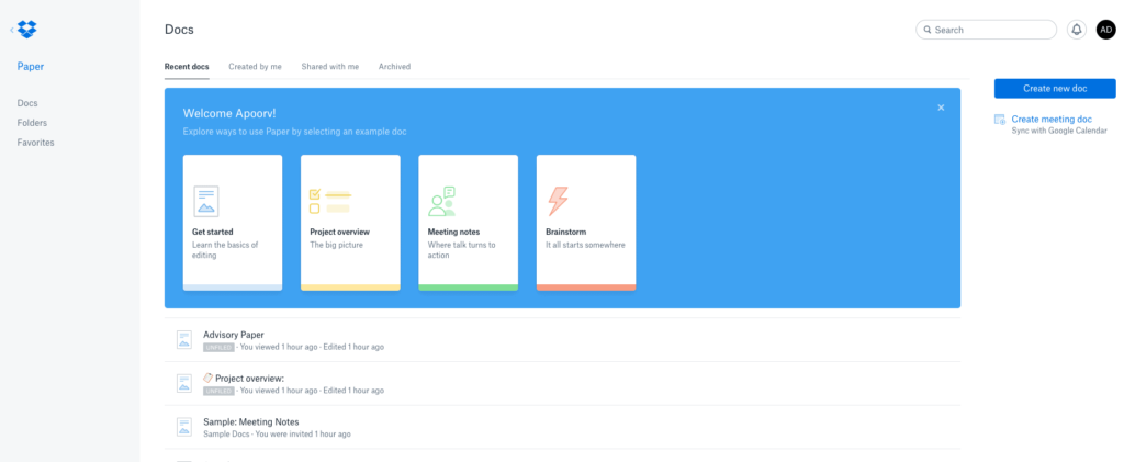 Dropbox paper - screenshot
