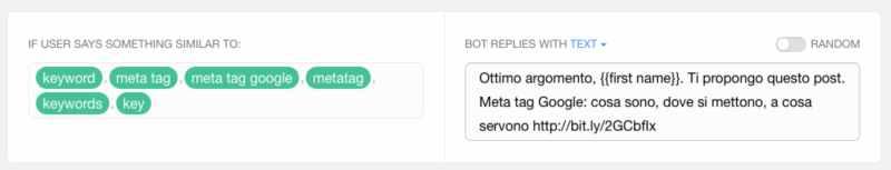 risposta bot messenger